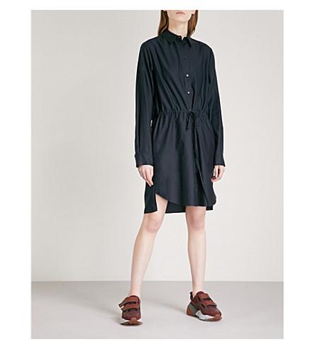 STELLA MCCARTNEY Drawstring-waist cotton-poplin shirt dress (Ink