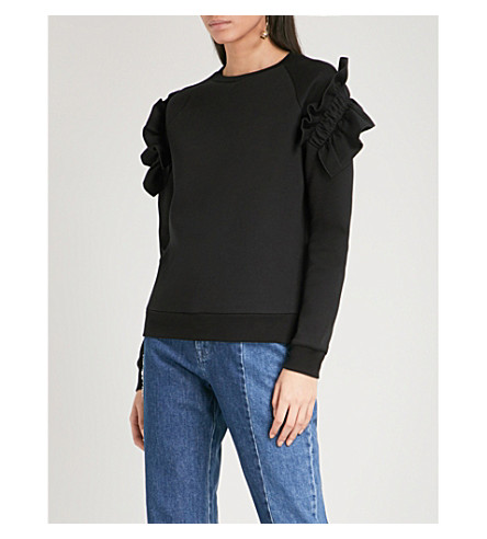 STELLA MCCARTNEY Ruffled cotton-blend sweatshirt (Black