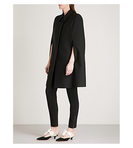 STELLA MCCARTNEY Volcano-embroidered wool cape (Black