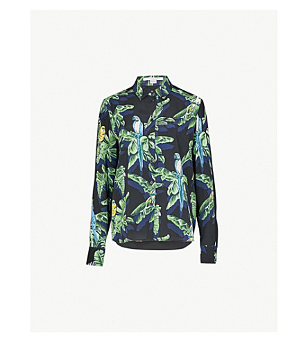 STELLA MCCARTNEY Wilson parrot-print silk shirt (Navy+par