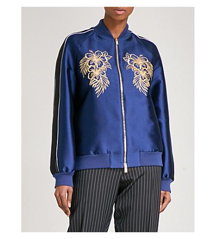 STELLA MCCARTNEY Embroidered satin bomber jacket (Navy