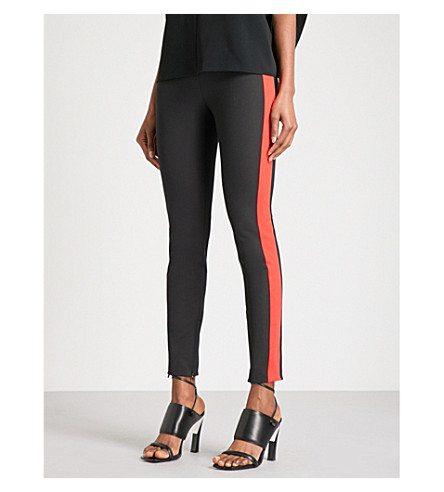 STELLA MCCARTNEY Striped-detail slim-fit cady trousers (Black