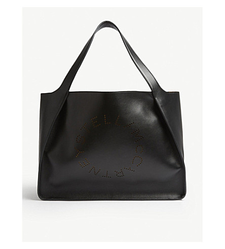 STELLA MCCARTNEY Logo alter-nappa faux-leather tote (Black