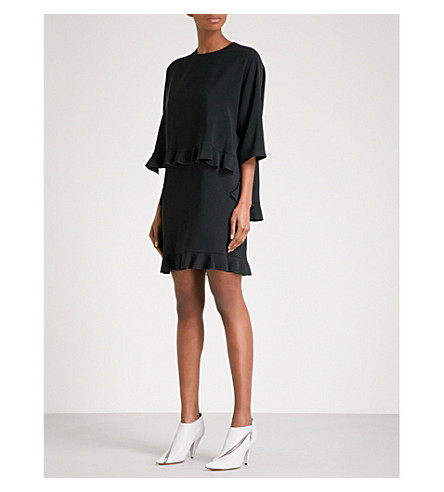 STELLA MCCARTNEY Tiered ruffled crepe mini dress (Black