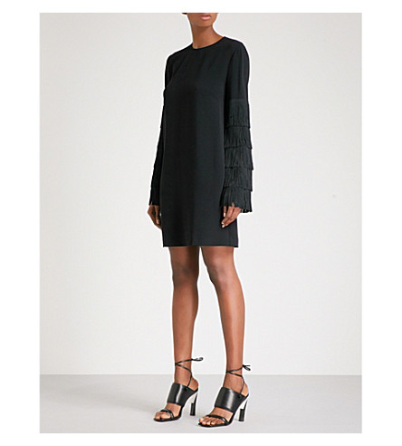 STELLA MCCARTNEY Fringe-sleeved cady dress (Black