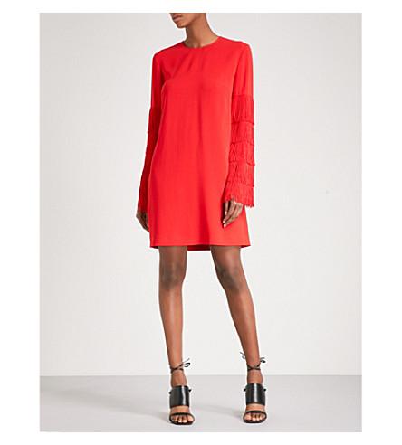 STELLA MCCARTNEY Fringe-sleeved cady dress (Lipstick