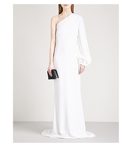 STELLA MCCARTNEY One-shoulder balloon-sleeve crepe column gown (White