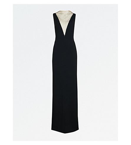 STELLA MCCARTNEY Naomi diamanté-embellished crepe column gown (Black