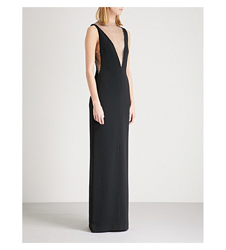 STELLA MCCARTNEY Naomi diamanté-embellished crepe column gown (Black