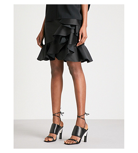 STELLA MCCARTNEY Ruffled high-rise satin-crepe skirt (Black