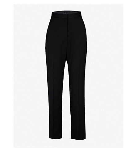 STELLA MCCARTNEY Wide high-rise wool tuxedo trousers (Black