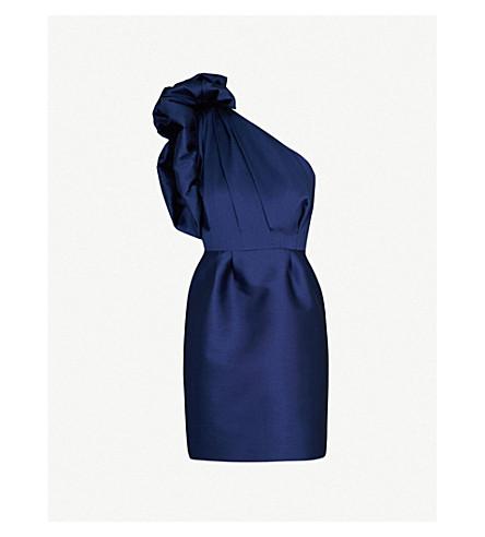 STELLA MCCARTNEY Asymmetric satin mini dress (Navy