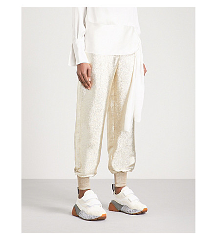STELLA MCCARTNEY Metallic lamé jogging trousers (Gold+met