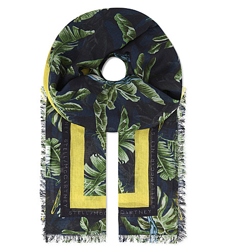 STELLA MCCARTNEY Jungle parrot modal and silk scarf (Multi