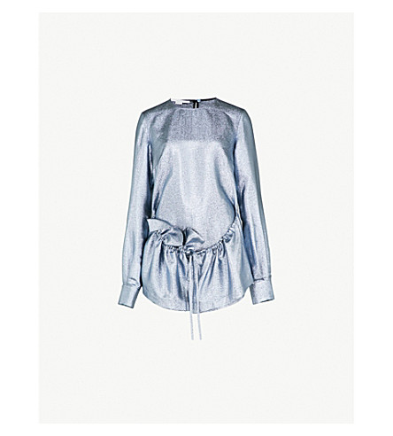 STELLA MCCARTNEY Ruffled lurex top (Blue+met