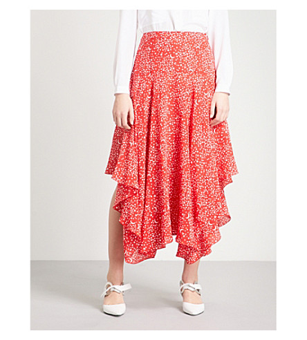 STELLA MCCARTNEY Star-print draped silk midi skirt (Red