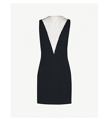 STELLA MCCARTNEY Jewel-embellished woven and mesh mini dress (Black