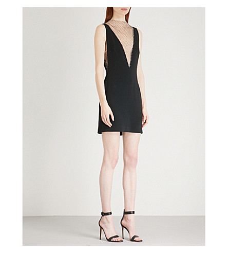 STELLA MCCARTNEY Jewel-embellished woven and mesh mini dress (Black