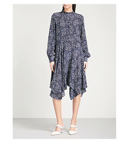 STELLA MCCARTNEY Star-print draped silk dress (Navy