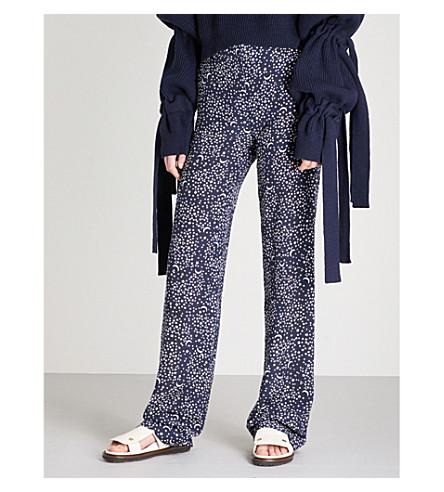 STELLA MCCARTNEY Star-print wide-leg silk trousers (Navy