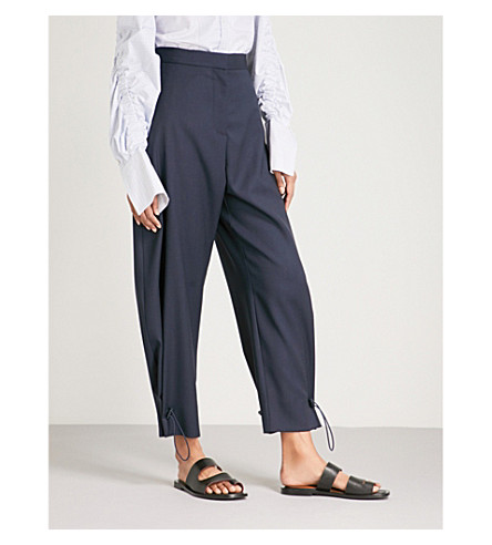STELLA MCCARTNEY High-rise tapered wool and mohair-blend trousers (Navy