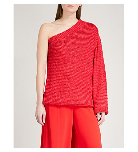 STELLA MCCARTNEY One shoulder knitted top (Red