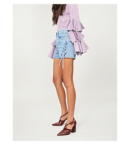 STELLA MCCARTNEY Lace-up panel denim shorts (Light+blue