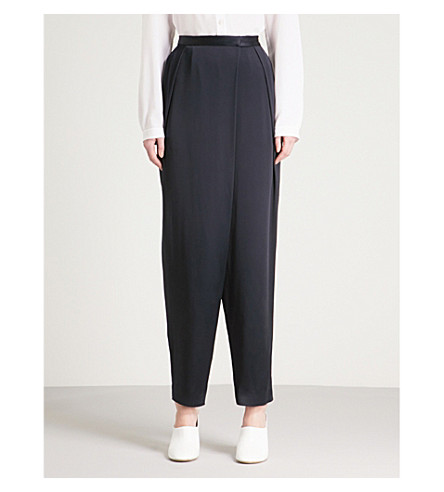 STELLA MCCARTNEY Draped tapered high-rise satin trousers (Ink