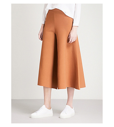 STELLA MCCARTNEY Wide-leg cropped woven trousers (Brown