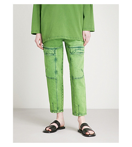 STELLA MCCARTNEY Flap-pocket cropped high-rise jeans (Green