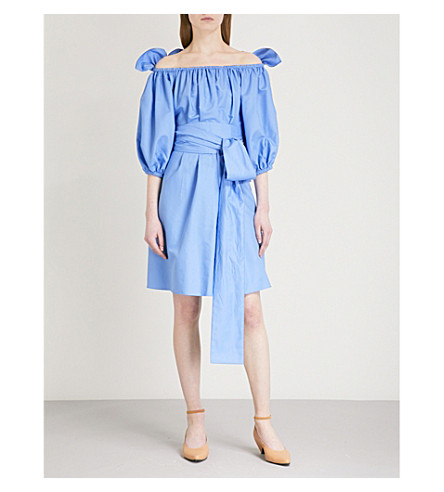 STELLA MCCARTNEY Reyna off-the-shoulder cotton dress (Light+blue