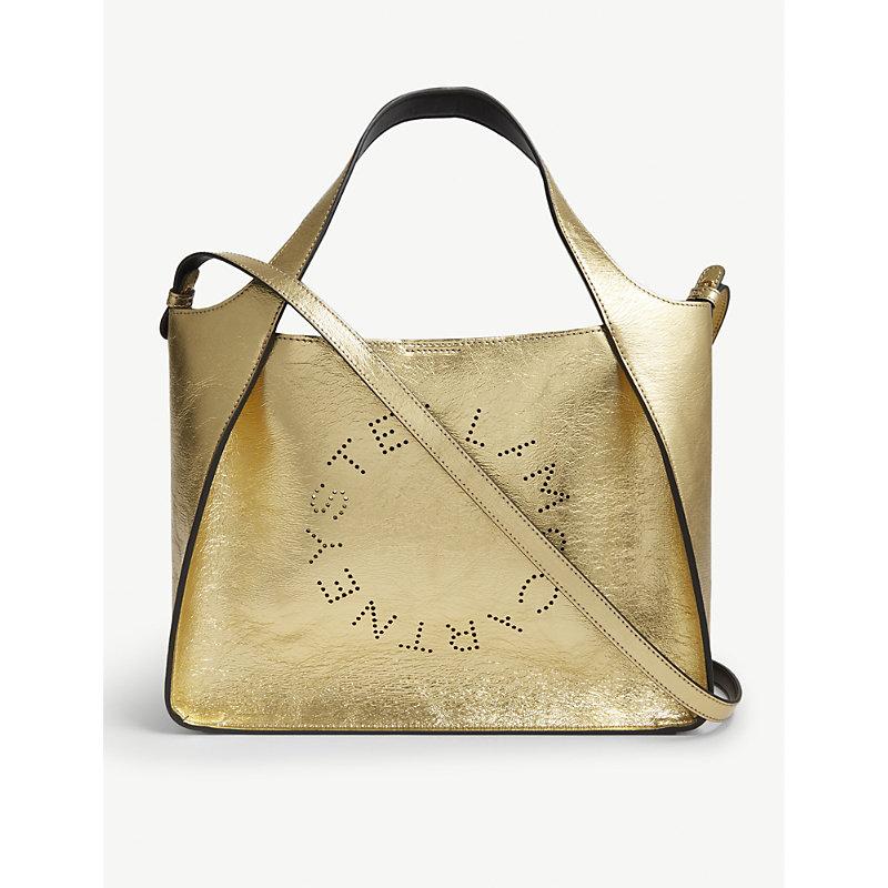 Logo metallic faux-leather shoulder bag