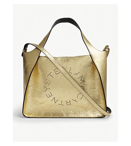 Clearance Pay With Visa STELLA MCCARTNEY Logo metallic faux-leather shoulder bag Gold Factory Outlet Sale Online Many Colors gdp2I
