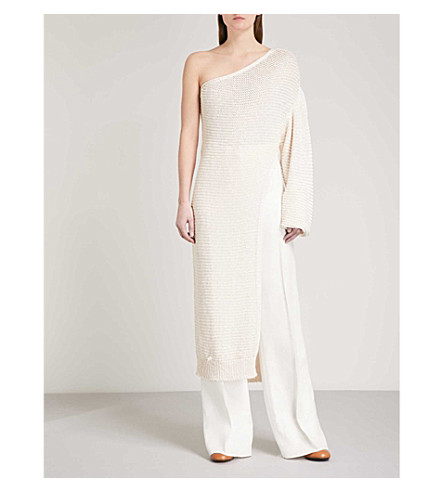 STELLA MCCARTNEY One-shoulder knitted jumper dress (Cream