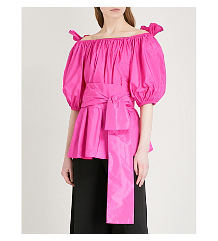 STELLA MCCARTNEY Reyna off-the-shoulder taffeta top (Bright+pink