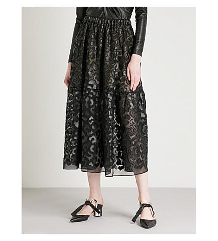 STELLA MCCARTNEY Leopard-print faux-leather skirt (Black