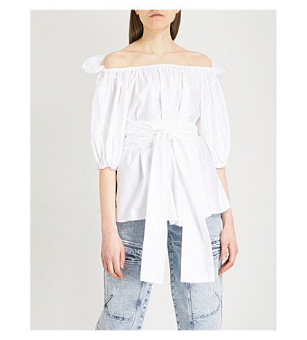 STELLA MCCARTNEY Off-the-shoulder cotton top (White