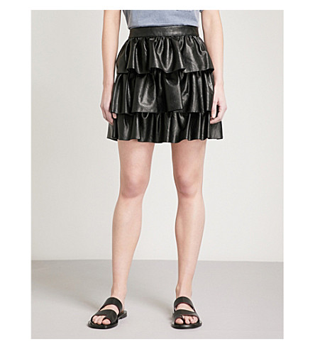 STELLA MCCARTNEY Ruffled alter-nappa skirt (Black