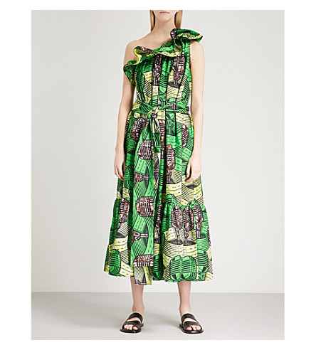 STELLA MCCARTNEY Microphone-print one-shoulder cotton dress (Green