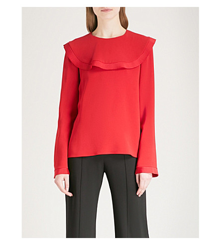 STELLA MCCARTNEY Frilled-panel crepe top (Lover red