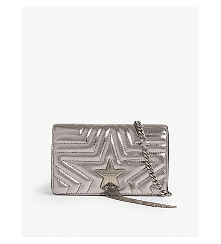 MCCARTNEY Ruthenium Star STELLA metallic STELLA leather bag shoulder faux MCCARTNEY waHEzzqO