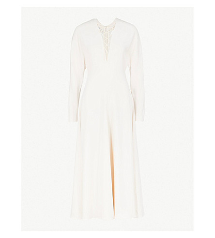 STELLA MCCARTNEY Lace-up front crepe dress (Off+white