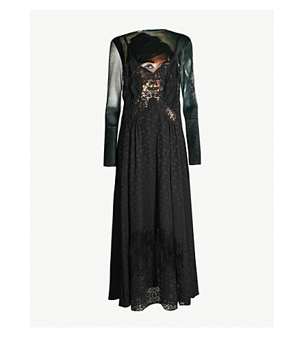 STELLA MCCARTNEY Riya portrait velvet and jacquard dress (Black