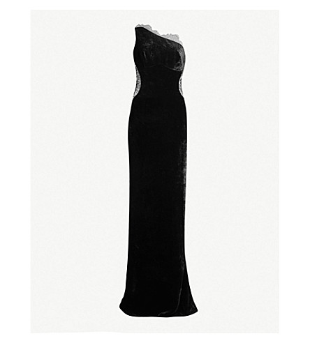 STELLA MCCARTNEY One-shoulder lace and velvet gown (Black
