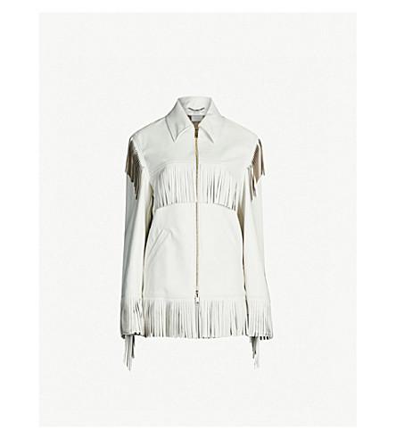 STELLA MCCARTNEY Fringed vegan leather jacket (White