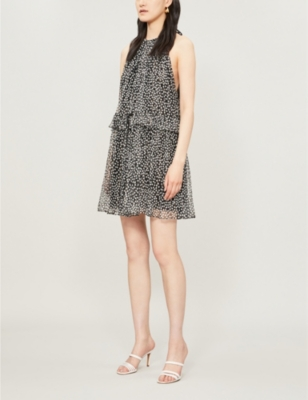 Polka-dot sleeveless silk-blend mini dress