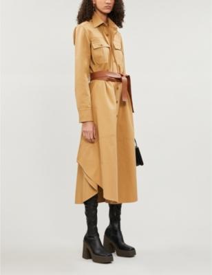Belted brushed-cotton midi dress