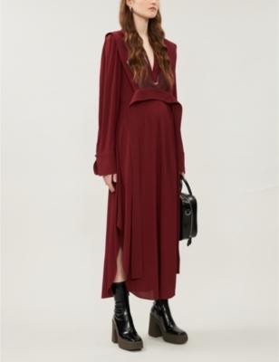 Sable V-neck stretch-crepe midi dress