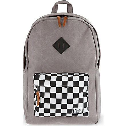 HERSCHEL Heritage canvas and suede backpack (Black/checkerboard