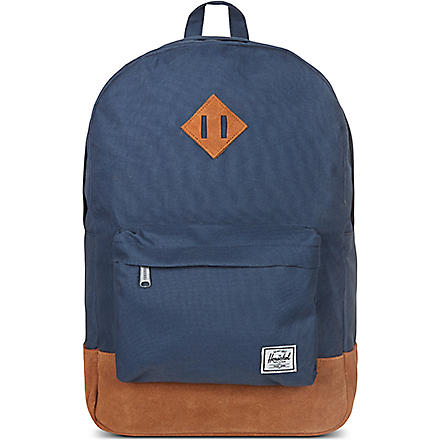 HERSCHEL Heritage canvas and suede backpack (Suede navy/tan
